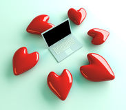Laptop in Love Royalty Free Stock Image