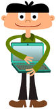 Laptop love. A cute illustration of a young man hugging a laptop Stock Images