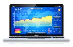 Laptop lub notatnik z giełda papierów wartościowych rynkiem app na ekranie ilustracji