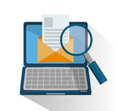 Laptop with lupe and seo design Royalty Free Stock Images