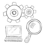 Laptop with magnifier icon, hand drawn style. Laptop with magnifier icon. Hand drawn illustration of laptop with magnifier vector icon for web Stock Photos