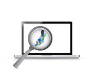Laptop magnify business concept illustration Royalty Free Stock Images