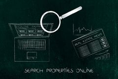Laptop with magnifying glass browsing ads next to real estate ma Royalty Free Stock Image