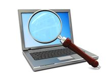 Laptop and magnigy glass. 3d illustration of laptop and magnify glass over white background