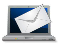 Laptop with mail. Envelope. Vector illustration Royalty Free Stock Photo