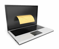 Laptop and mail. 3D illustration on white backgrou Stock Photography