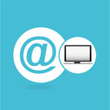 Laptop mail network icon Stock Images
