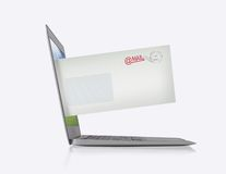 Laptop with mail Royalty Free Stock Photography