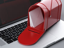 Laptop and mailbox Royalty Free Stock Image
