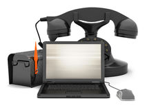 Laptop, mailbox, rotary phone and computer mouse Stock Image