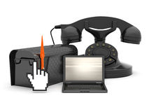 Laptop, mailbox and rotary phone Stock Image