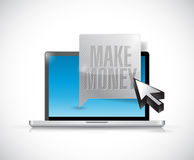 Laptop with a make money message bubble. Royalty Free Stock Photography