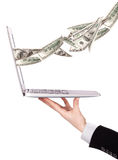 Laptop making money concept isolated Stock Photos