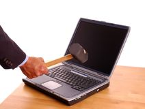 Laptop & Mallet Royalty Free Stock Image