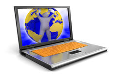 Laptop and Man in globe (clipping path included) Royalty Free Stock Photography