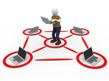 Laptop man. Laptops network surrounding a man. Technology and networking concept Stock Image