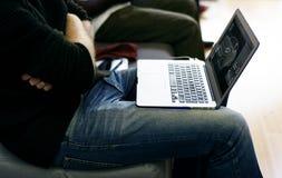 Laptop in man's lap