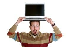 Laptop-Mann Stockfoto