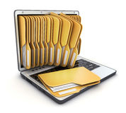 Laptop and many folder Stock Photos