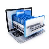 Laptop and many folder. On white background. 3d illustration Stock Photo