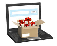 Laptop and many gifts Stock Photography