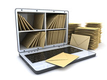 Laptop and many mail Royalty Free Stock Images