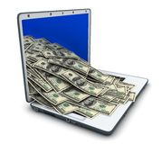 Laptop and many money Royalty Free Stock Photos