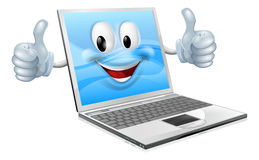 Laptop mascottemens Royalty-vrije Stock Afbeeldingen
