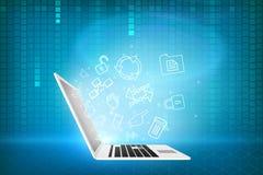 Laptop with matrix background Stock Photos