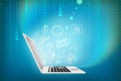 Laptop with matrix background Stock Photo