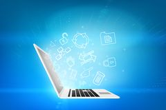 Laptop with matrix background. Laptop with blue matrix background and symbols Stock Image
