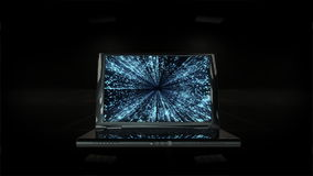 Laptop with Matrix on display, zoom in, Alpha Channel, stock footage stock video footage