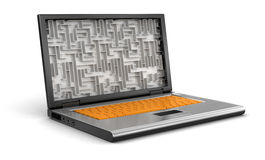 Laptop and Maze (clipping path included) Stock Photo