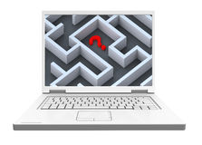 Laptop with maze on the screen isolated over white. Stock Photography