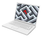 Laptop with maze on the screen isolated over white. Royalty Free Stock Image