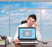 Laptop with maze on screen Royalty Free Stock Photos