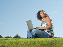 Laptop in the meadow Stock Photos