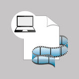 Laptop media player file film. Vector illustration eps 10 Stock Photography