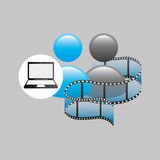 Laptop media player  film. Vector illustration eps 10 Stock Photography