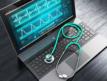 Laptop with medical diagnostic software and stethoscope. Creative abstract healthcare, medicine and cardiology tool concept: laptop or notebook computer PC with stock illustration