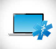 Laptop and medical symbol. illustration design Royalty Free Stock Photos