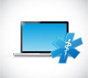 Laptop and medical symbol. illustration design Royalty Free Stock Photos