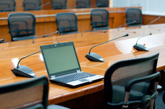 Laptop in meeting room Stock Image