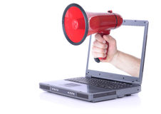 Laptop megafoon stock afbeeldingen