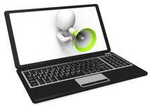 Laptop Megaphone Shows Internet Announcement Message Or Informat Royalty Free Stock Images