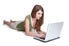 Laptop Meisje royalty-vrije stock fotografie