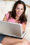 Laptop Meisje Royalty-vrije Stock Foto's