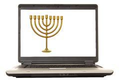Laptop Menorah Royalty Free Stock Photo