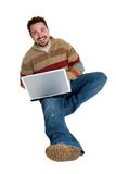 Laptop Mens stock afbeeldingen