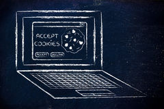 Laptop with message about accepting website cookies Royalty Free Stock Photography